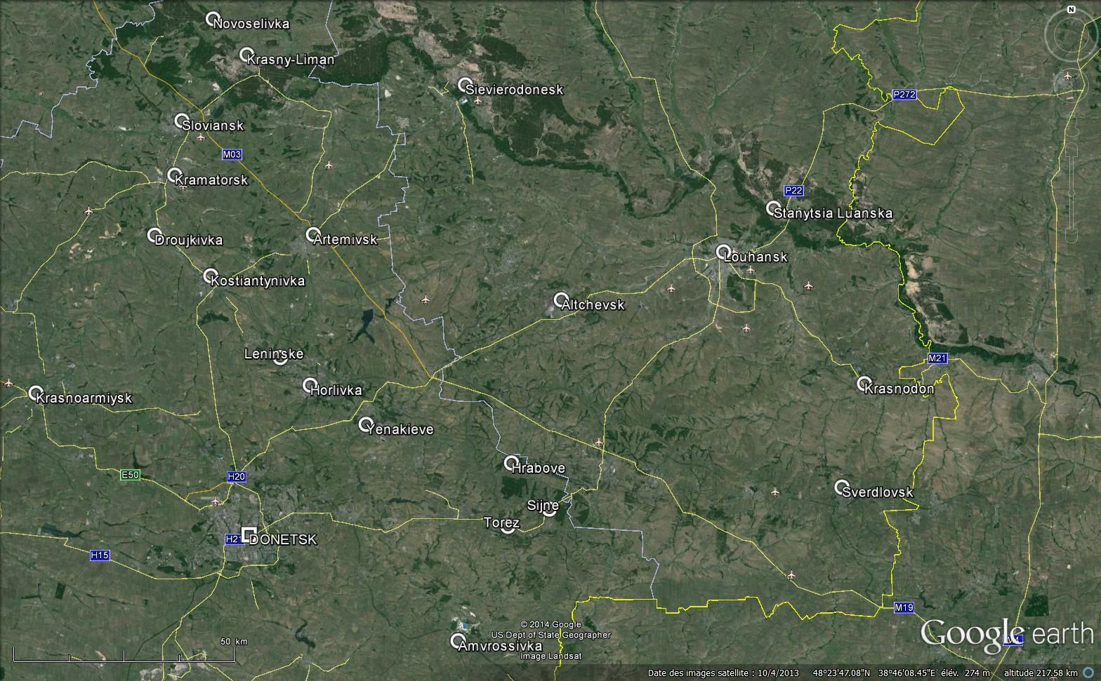 Le Donbass vu sur Google Earth .