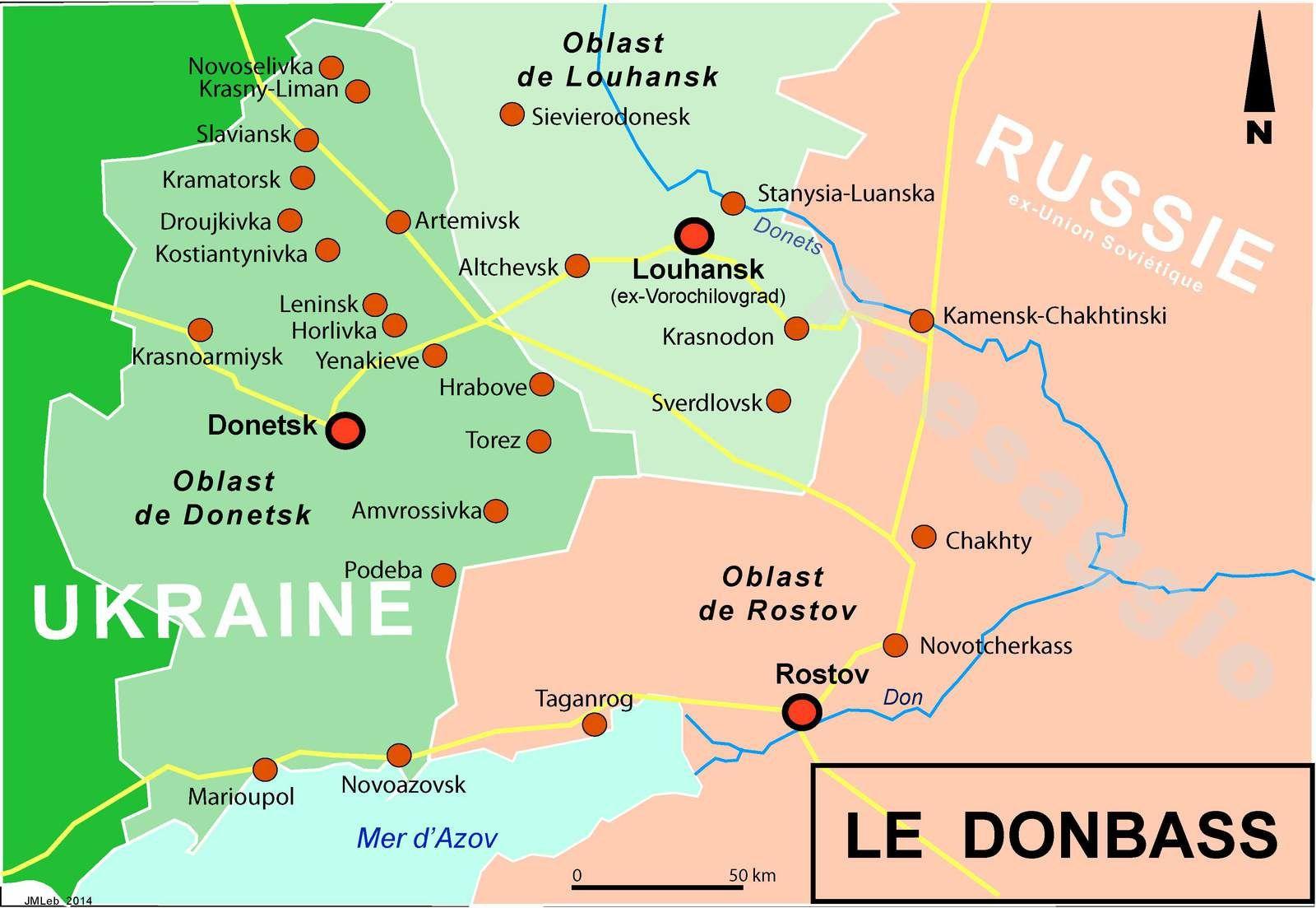 Trois cartes pour situer le Donbass