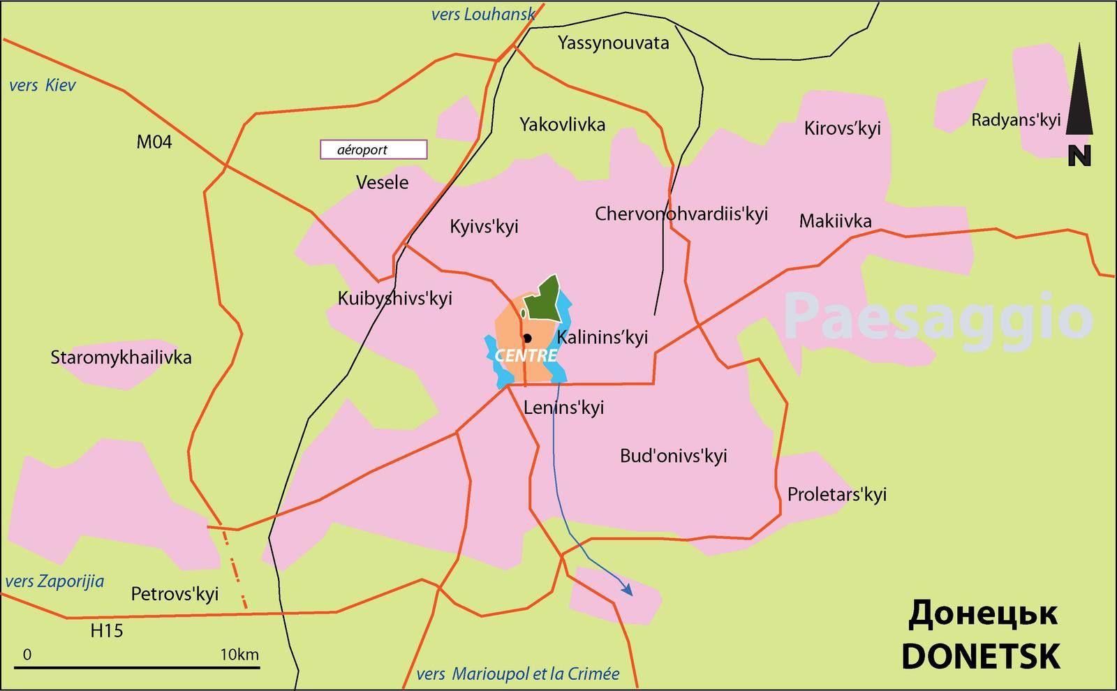 Plan de Donetsk, la plus grande ville du Donbass