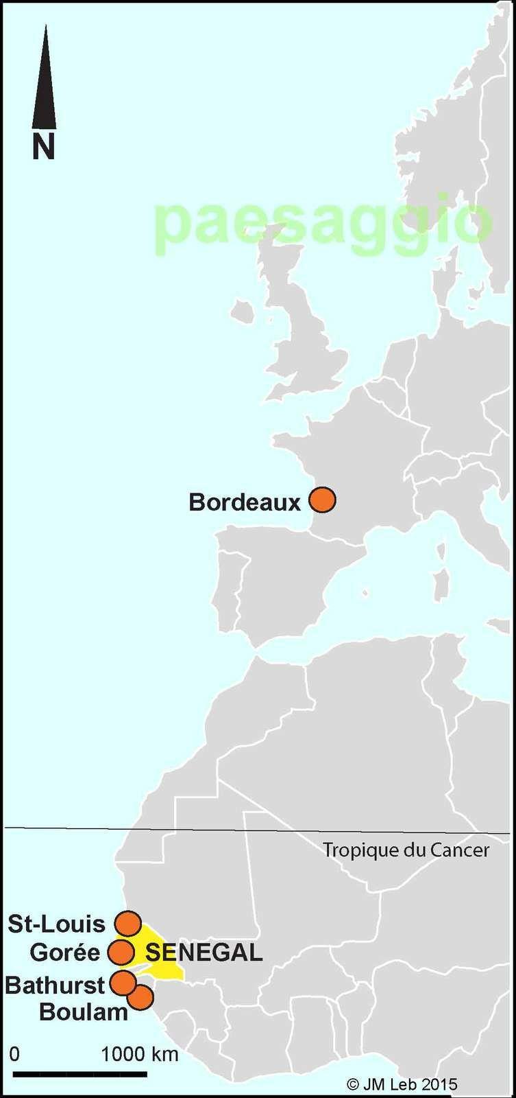 Quelques lieux d'implantation majeure de Maurel et H.Prom : l'île de Gorée, Saint-Louis, Boulam (non loin de Bissau), Kayes (Sudan devenu Mali), Bathurst devenue Banjul.