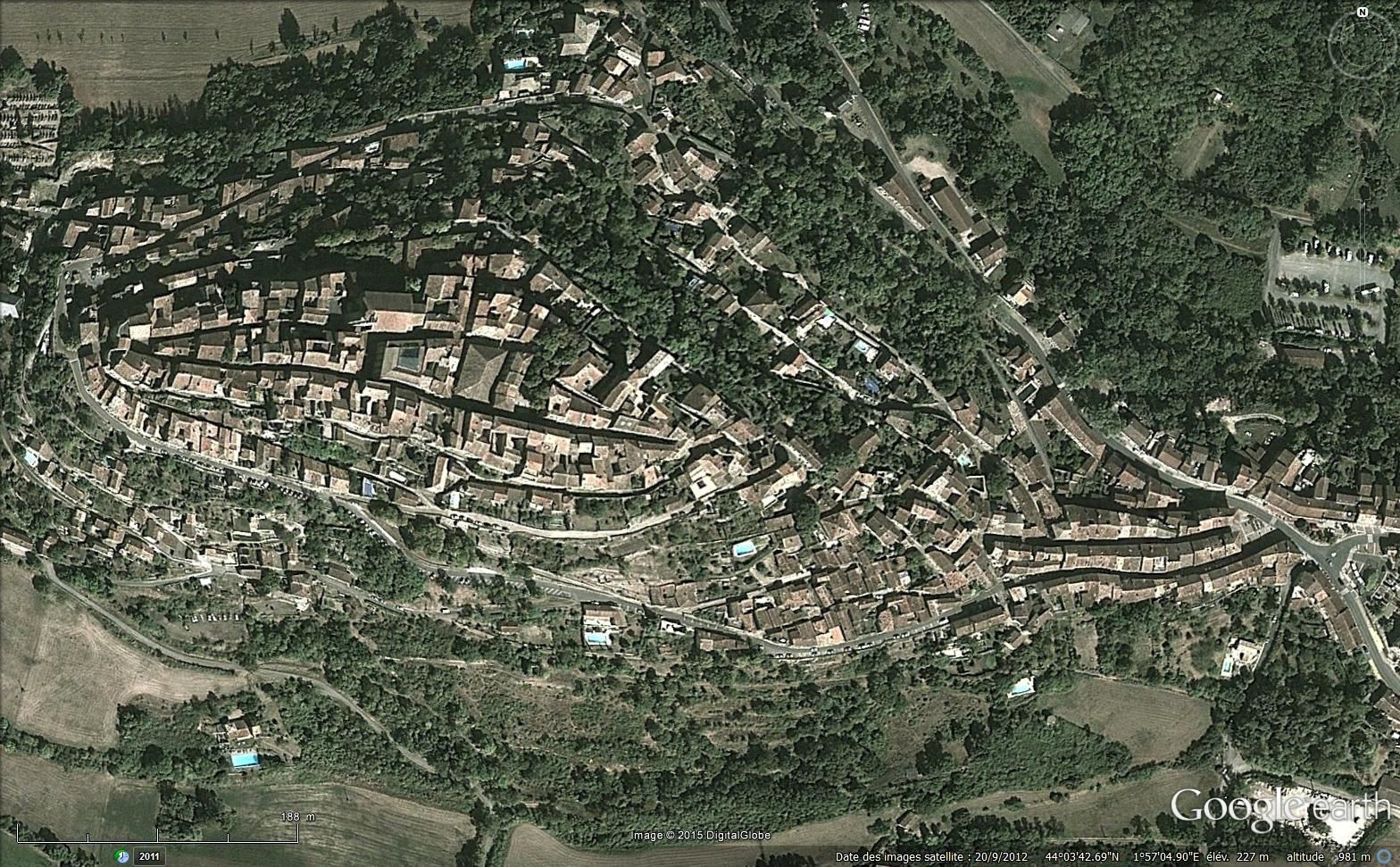 Images satellitaires via Google earth