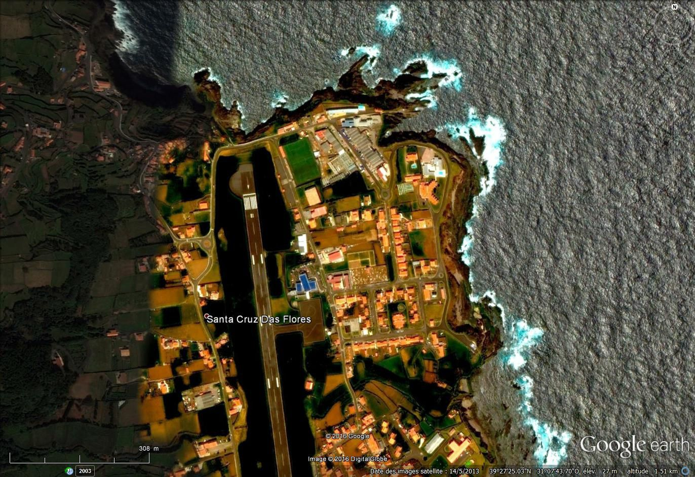 Ile de Florès aux Açores via Google earth