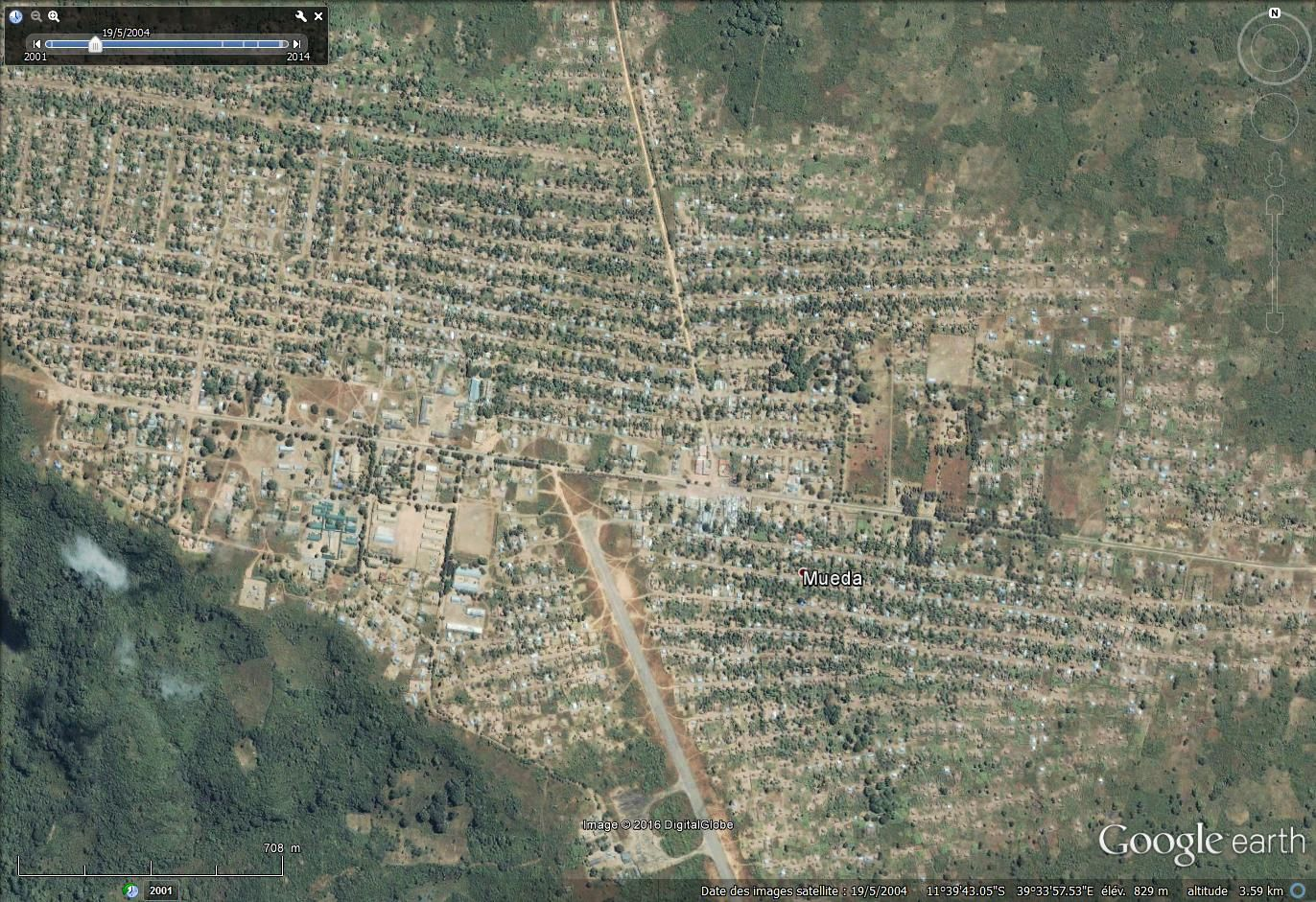 La ville de Mueda : probablement plus de 50 000 habitants Google earth