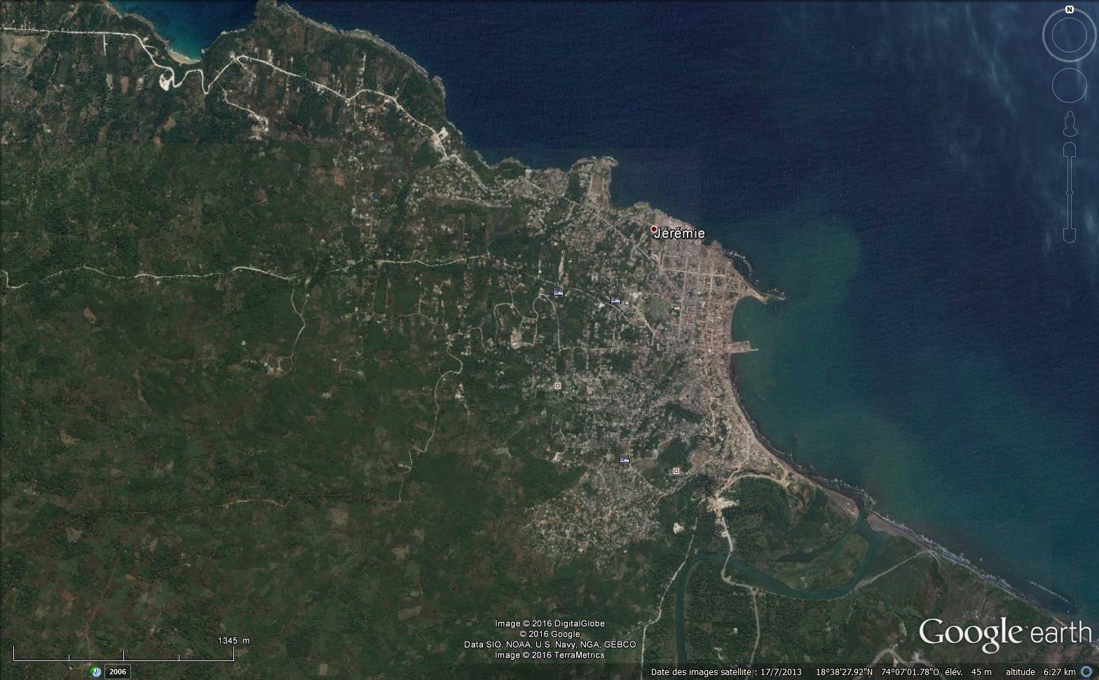 Jérémie vue par les satelites (via Google earth) : le site, le centre vulnérable à de légères élévation du niveau marin