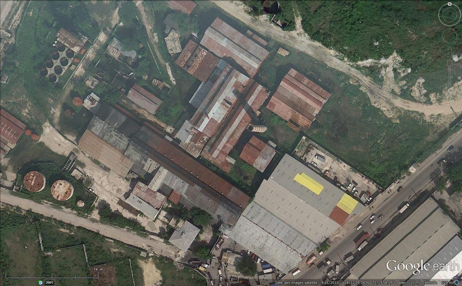 Les ruines de l'usine via Google earth en 2015