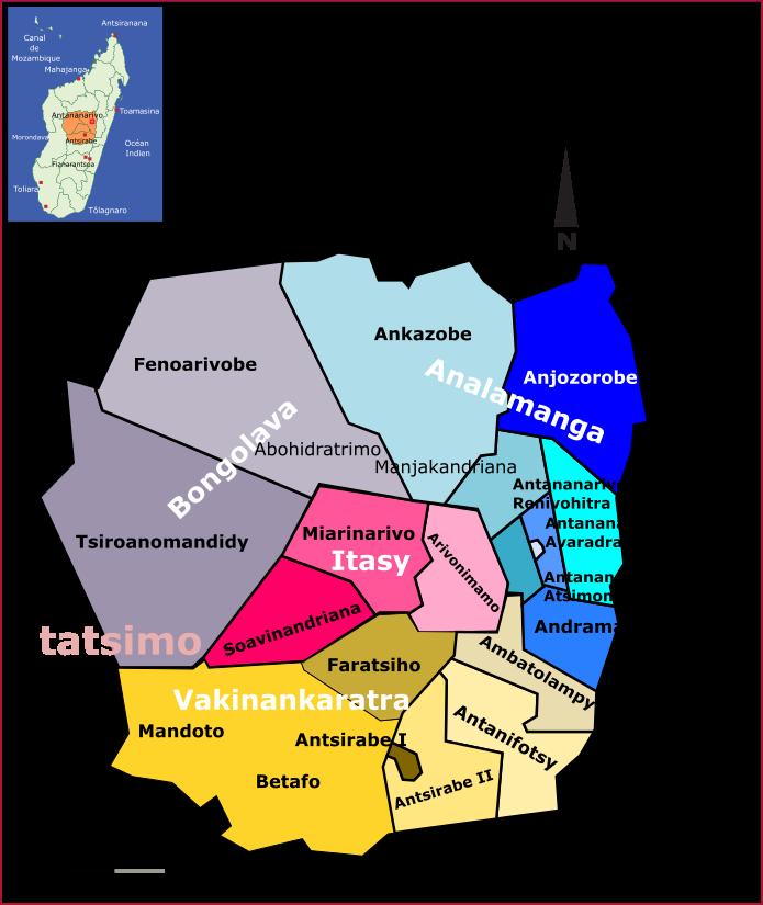 Quelques cartes des régions et districts de Madagascar