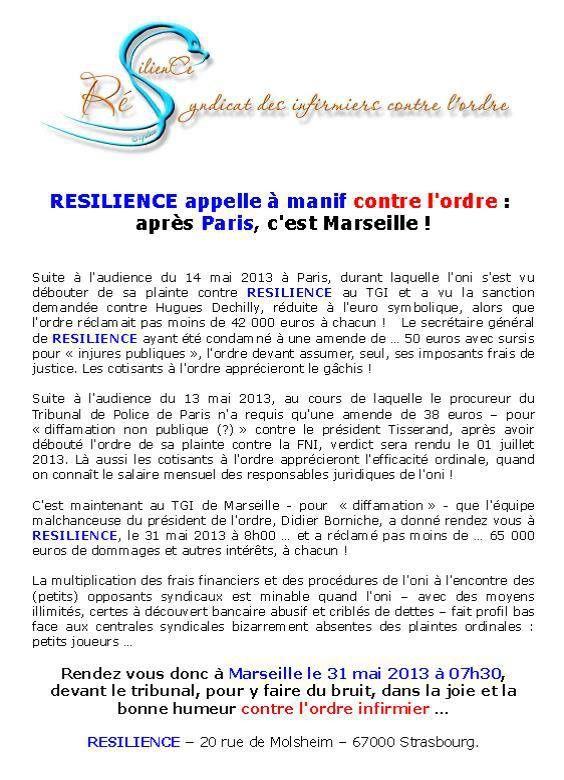 Marseille, TGI : Soutien à Résilience, syndicat des infirmiers contre l'ordre
