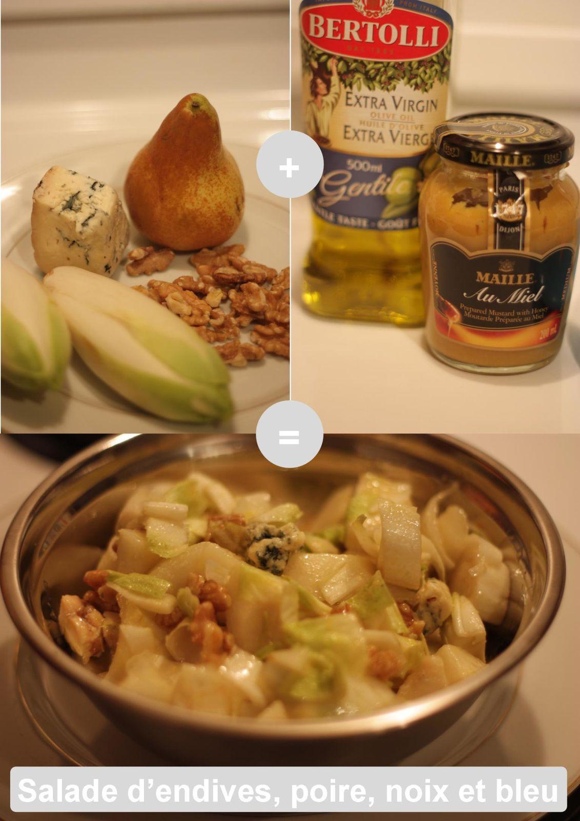 Salade d'endives, poire, noix et bleu