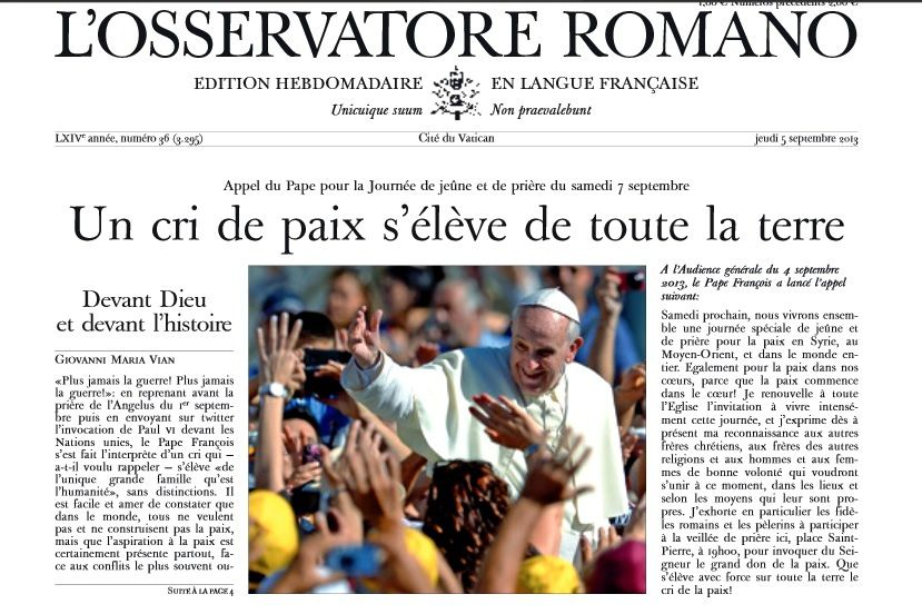 Syrie : Ouest-France concurrence l'Osservatore Romano