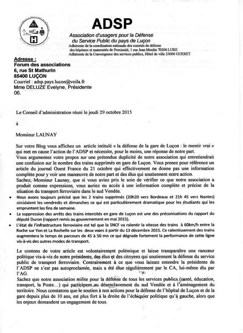 La défense de la gare de Luçon : le mentir-vrai !