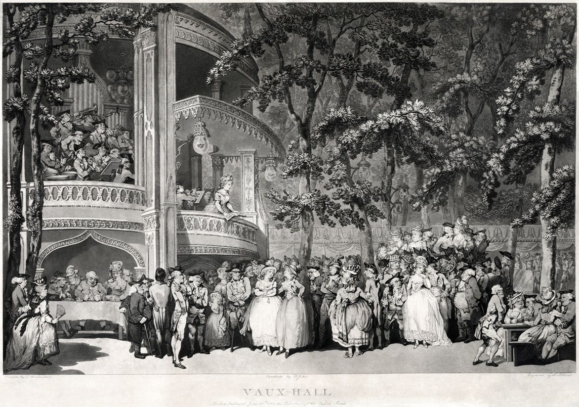 "La gravure était ensuite coloriée ! Cette illustration présente des personnages connus : ""The two women in the centre are Georgiana, Duchess of Devonshire and her sister Lady Duncannon. The man seated at the table on the left is Samuel Johnson."""