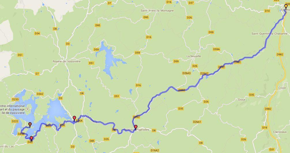 Itinéraire Felletin-Beaumont  du lac.