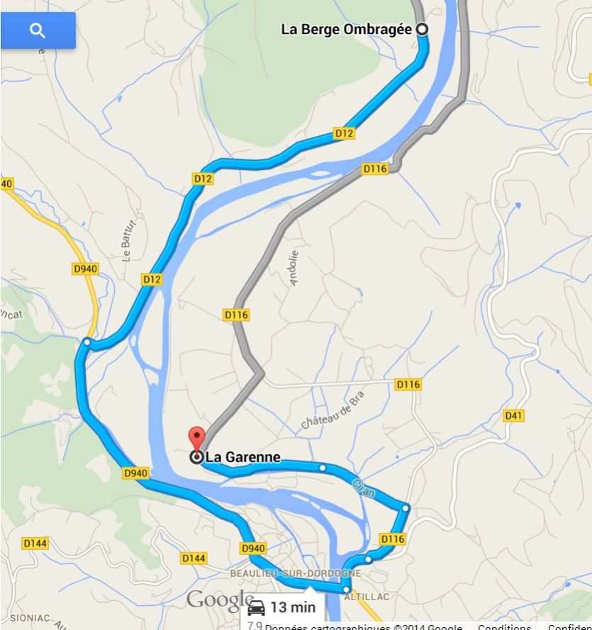 Itinéraire Brivezac-Beaulieu sur Dordogne