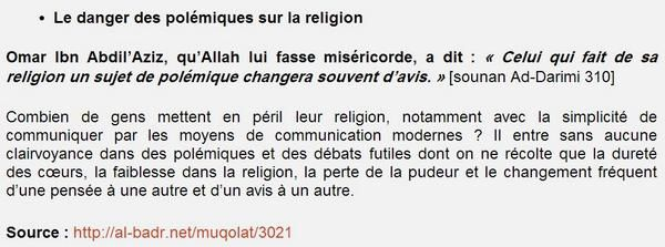 Le danger des polémiques sur la religion...