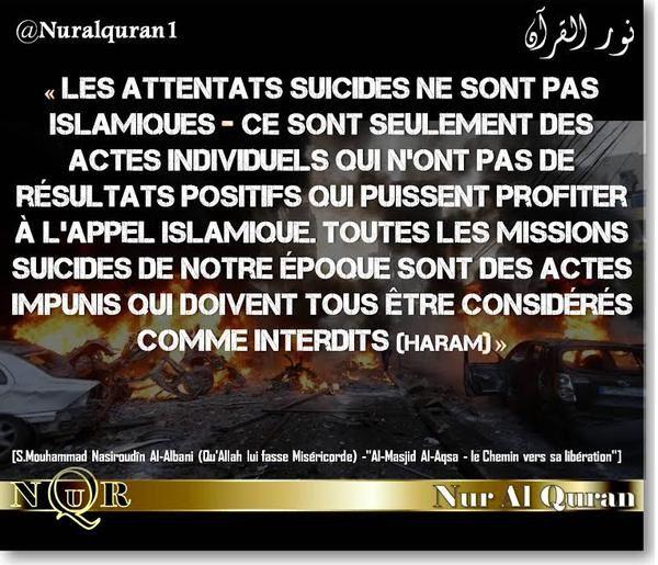 Les attentats suicides ne font pas partie de l'Islam !