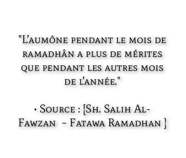 L'aumône pendant le mois de ramadaan...