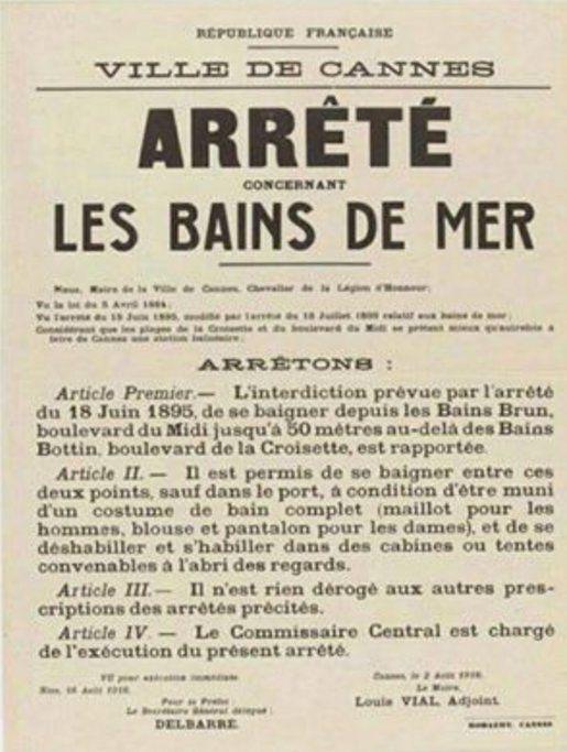 Non vous ne rêvez pas! l'Arrêté du 18 juin 1895 à Cannes ordonnait aux femmes de se baigner avec blouse et pantalon!