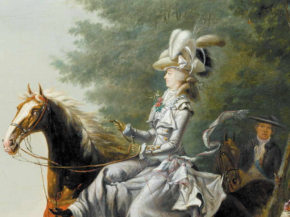 détail:Marie Antoinette and her husband hunting, 1783, by Louis-Auguste Brun
