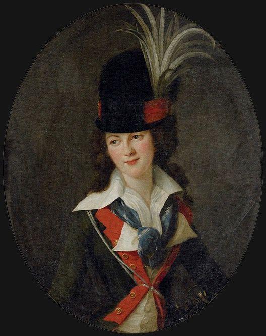 Nathalie Victorienne de Mortemart, Marquise de Rougé in riding habit by Élisabeth Louise Vigée-Lebrun 1787