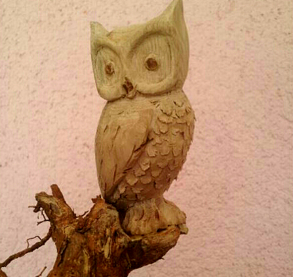 David : sculpture sur bois au PRADEL