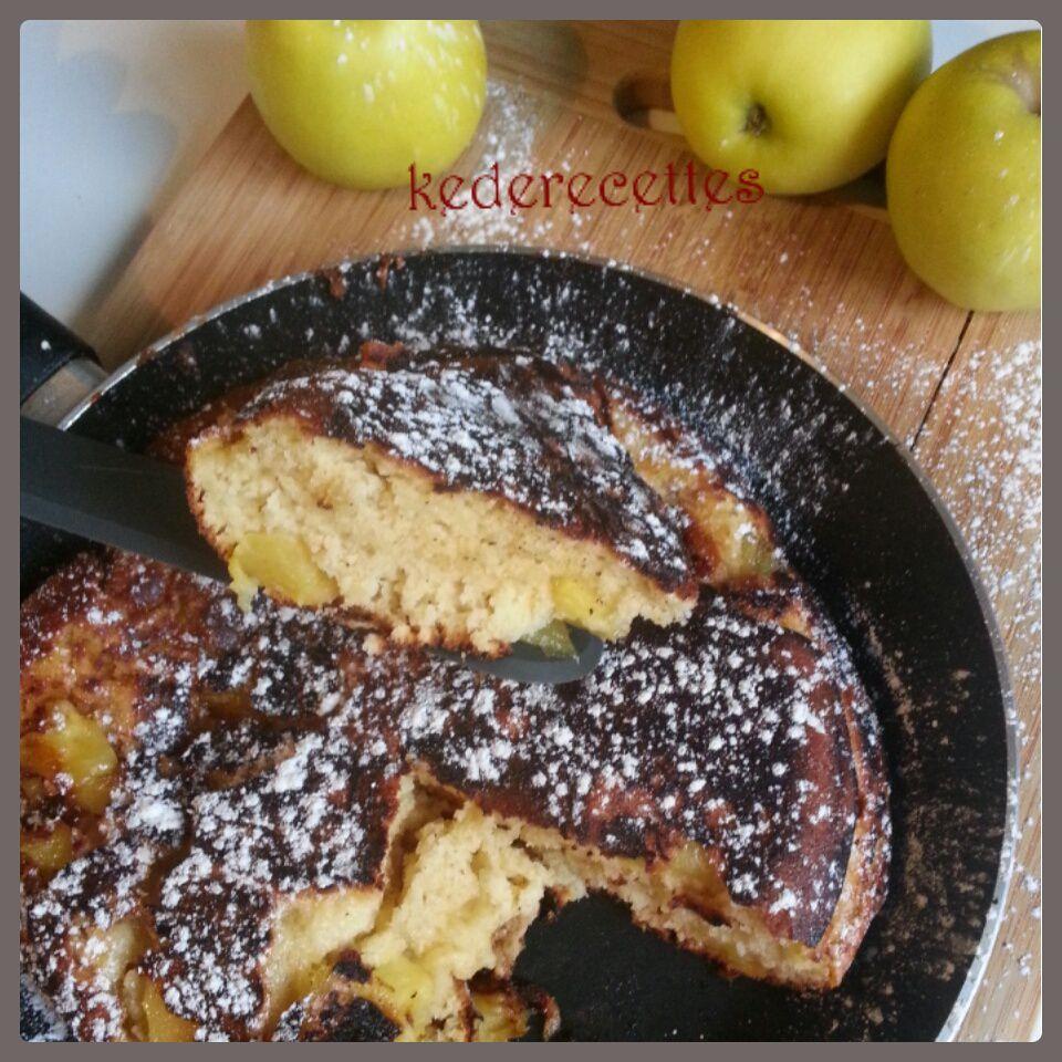 Gâteau pommes, miel de fleur, à la poële
