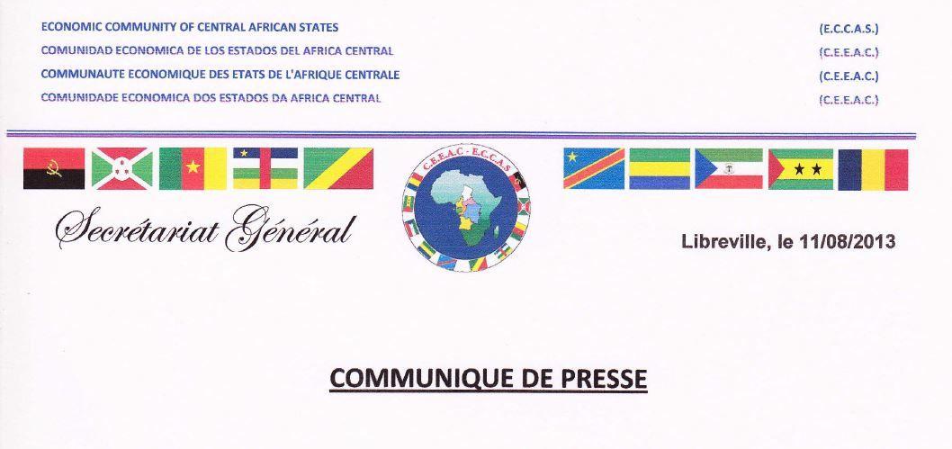 Communiqué de presse du Secrétariat Général de la CEEAC