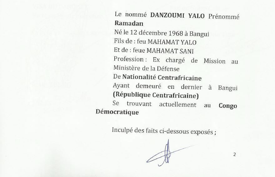 Mandat d'arrêt international de Bozizé et ses acolytes suite : Danzoumi Yalo Ramadan