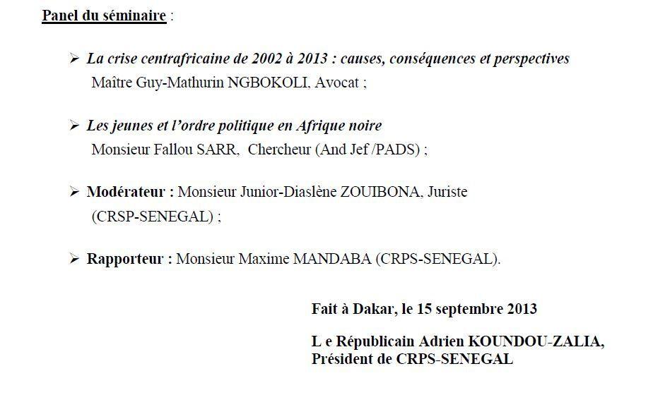 Annonce de la Fédération CRPS - Sénégal