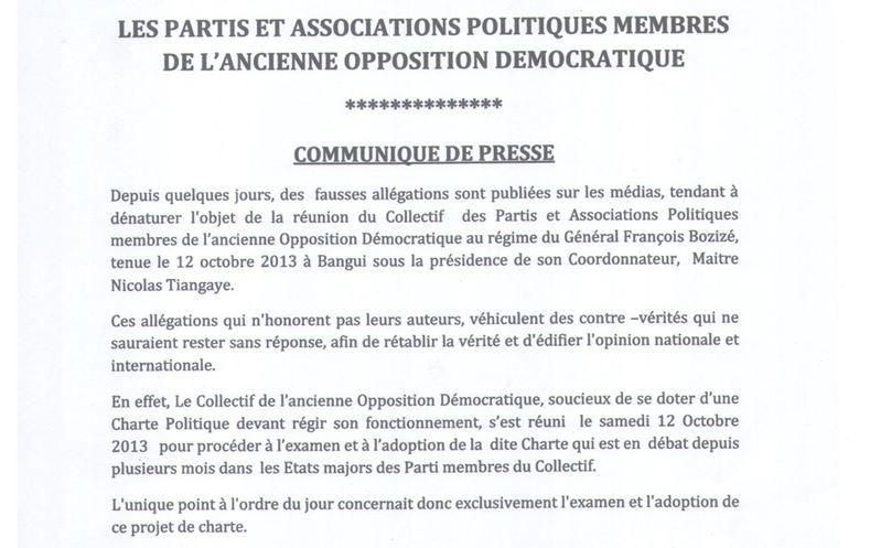 Communiqué de presse du Collectif de l'ancienne Opposition démocratique
