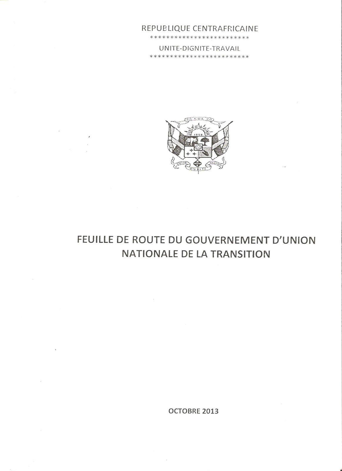 RCA : la feuille de route du Gouvernement de transition a été enfin adoptée