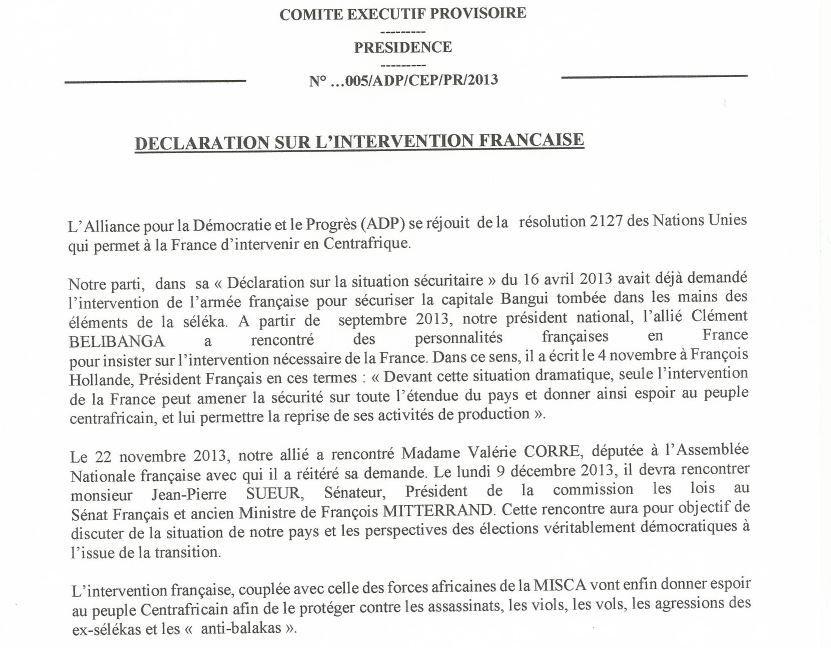 Déclaration du parti ADP sur l'intervention de l'armée française