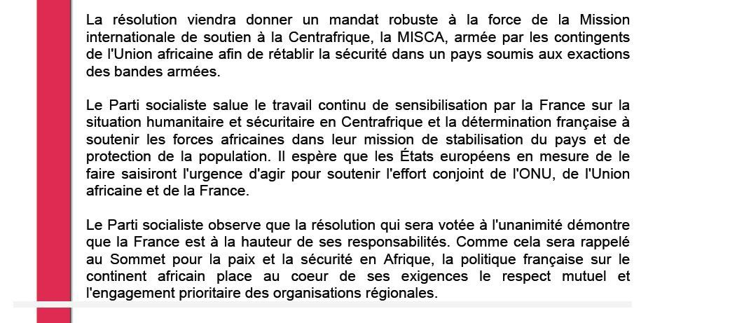 Communiqué du Parti Socialiste français sur la situation en RCA