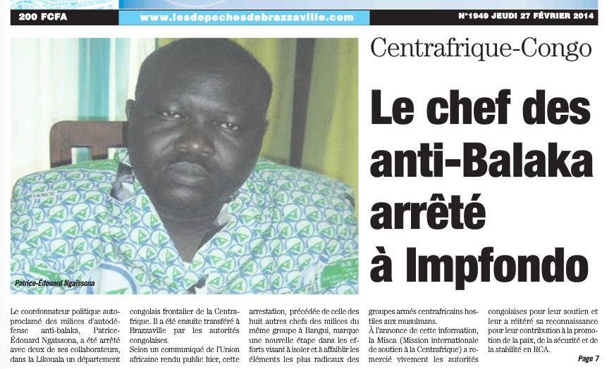 Centrafrique: un chef milicien anti-balaka arrêté au Congo