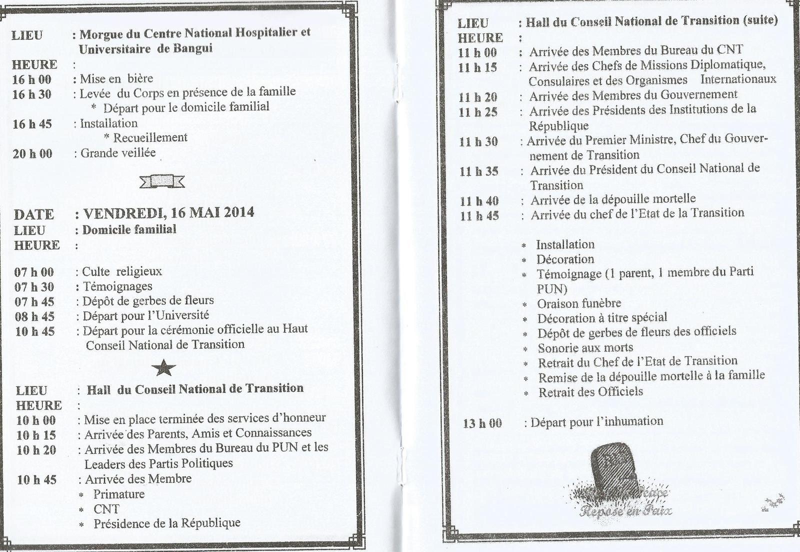 Programme des funérailles de l'ancien Premier Ministre Jean-Paul NGOUPANDE
