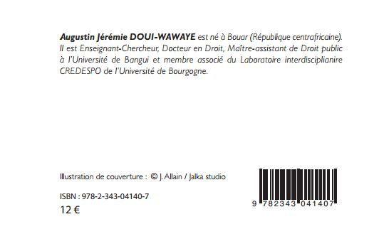 Livre - Vient de paraître : Repenser la sécurité en République centrafricaine par Augustin Jérémie Doui-Wawaye