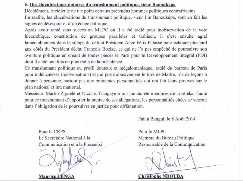 Droit de réponse de la CRPS et du MLPC à Lin Banouképa