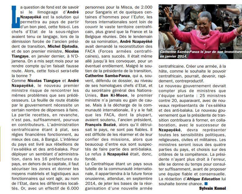 Lu pour vous : Démission de son premier ministre et retour à la case départ pour Catherine Samba-Panza
