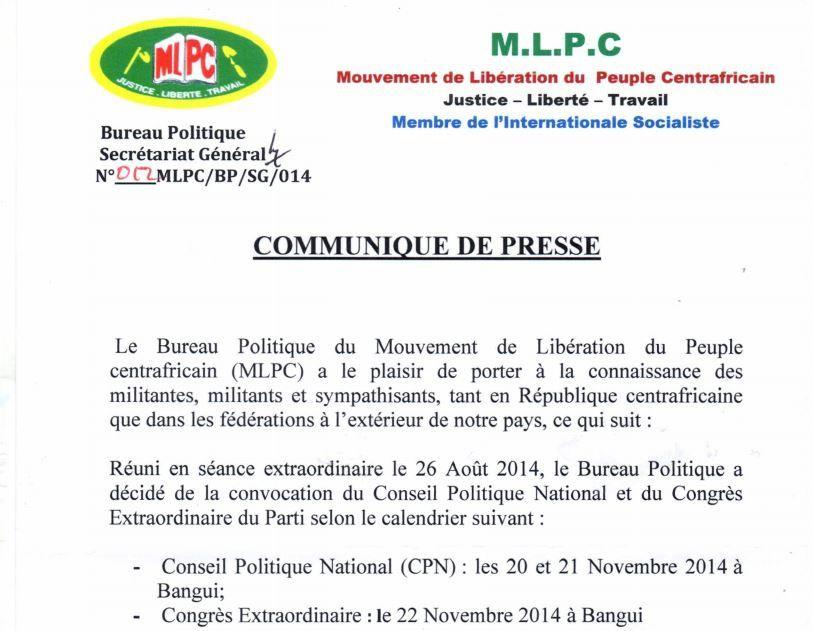 Communiqué de presse du MLPC