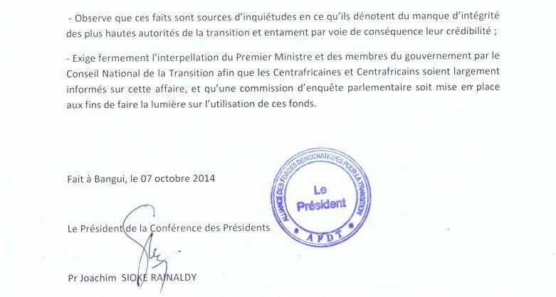 Affaire détournement don angolais : Position de l'Alliance des Forces Démocratiques pour la Transition (AFDT)
