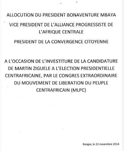 Discours d'ouverture du Congrès extraordinaire du MLPC par son Président Martin ZIGUELE
