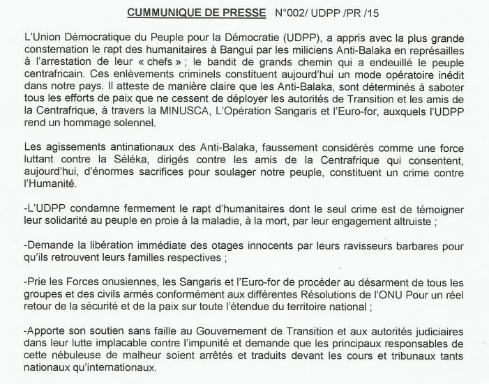 L'UDPP condamne les prises d'otages de Bangui
