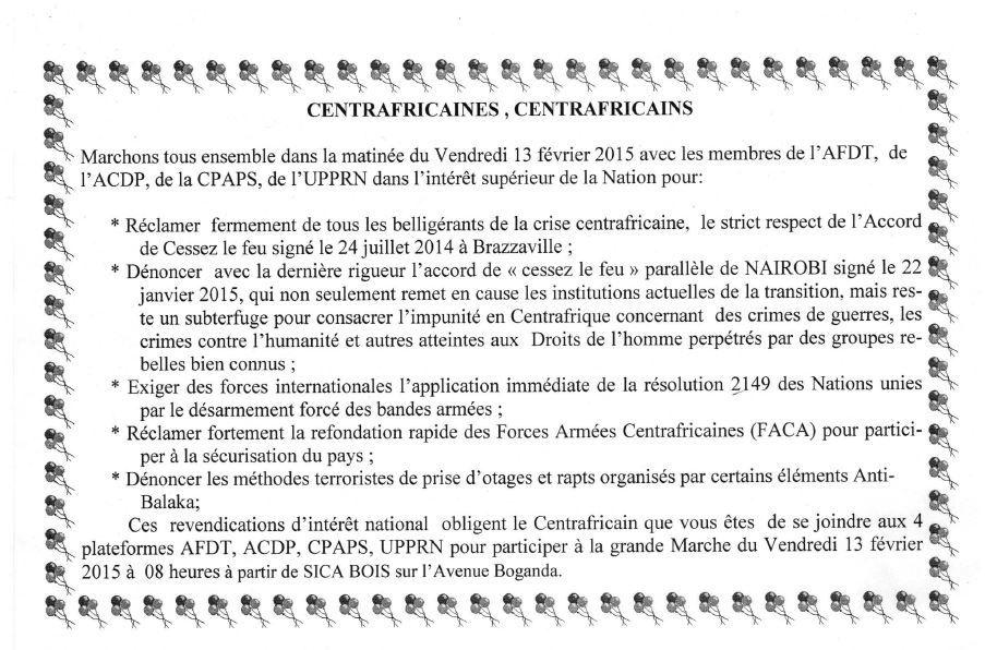 RCA : La classe politique décide de marcher pour exiger le désarmement forcé des bandes armées