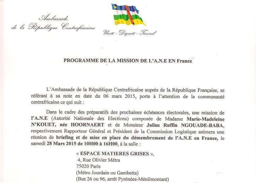 Programme de la mission de l'ANE à Paris