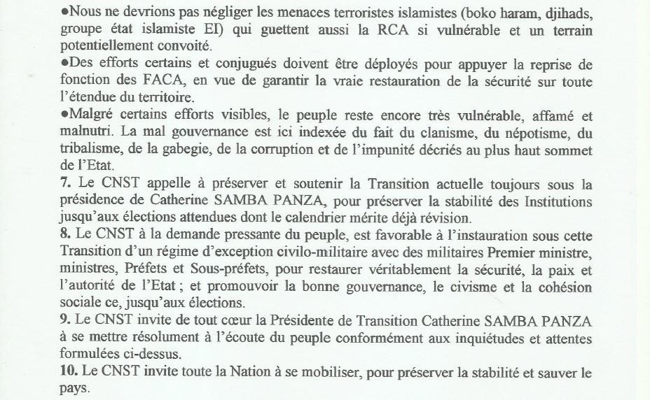 RCA : Etrange communiqué d'un comité de soutien à transition