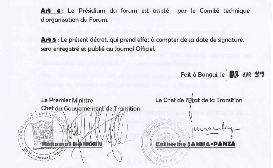 Composition du présidium du Forum de Bangui