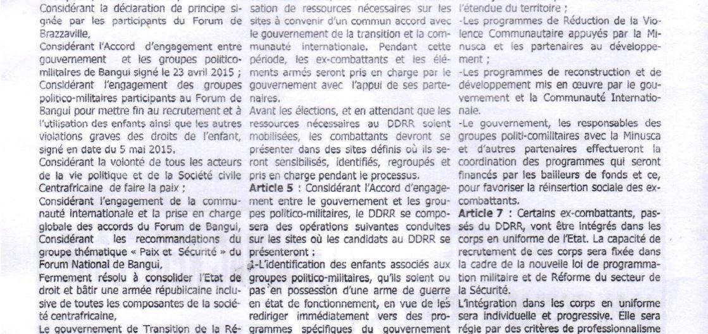 L'Accord de DDRR signé au Forum de Bangui