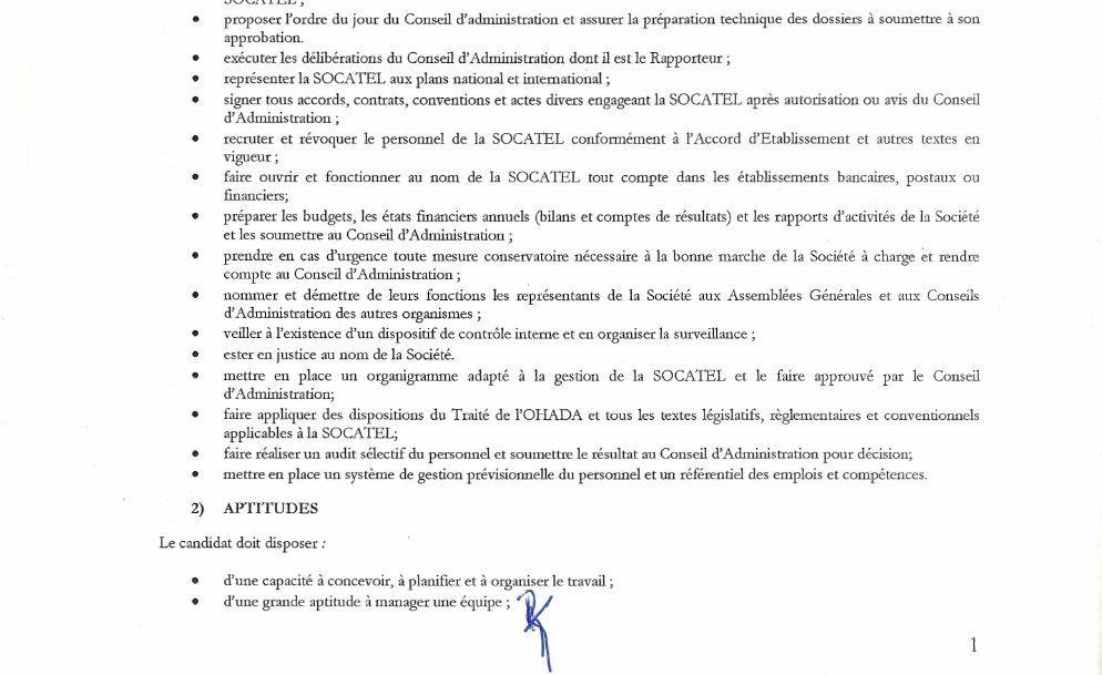 SOCATEL : Avis d'appel à candidature au poste de DG