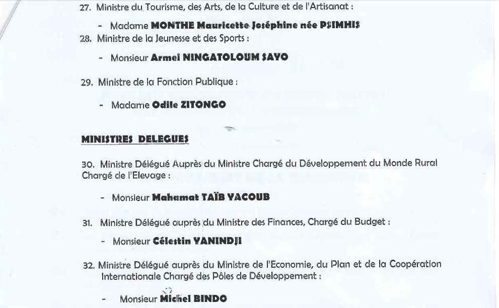 Leger remaniement gouvernemental à Bangui