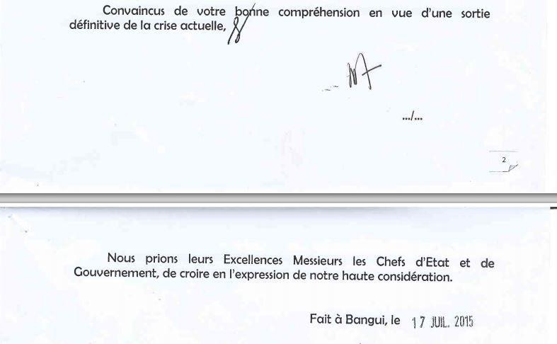 Lettre de demande aux chefs d'état de la CEEAC pour une ultime prorogation de la transition