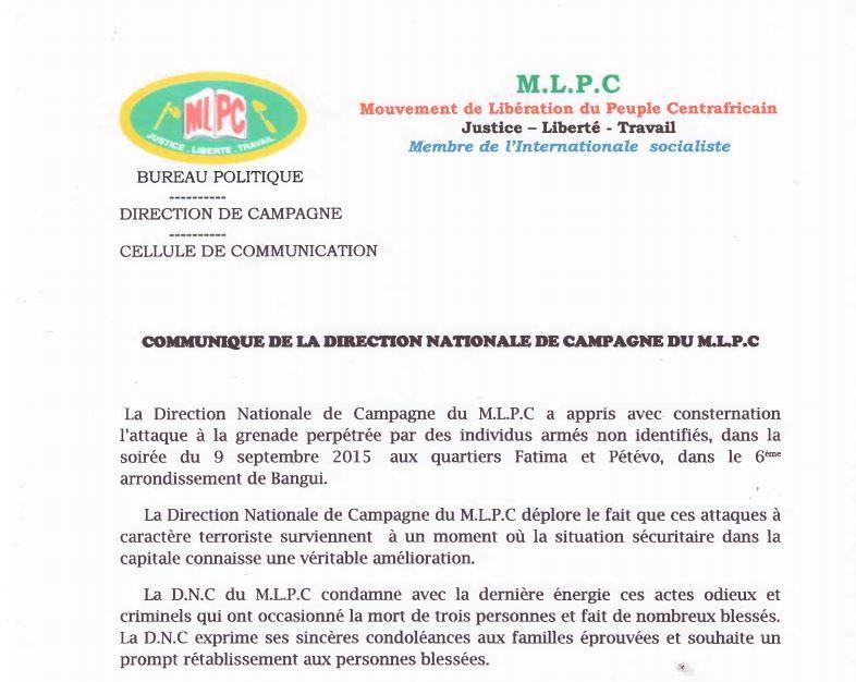 Le MLPC et son candidat Martin ZIGUELE condamnent avec force l'attaque à la grenade dans le 6ème